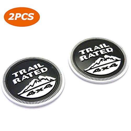 4 X 4 Tailgate (E-Most 2 Pcs Black Trail Rated 4X4 Trunk Tailgate Fender Emblem Badge Logo For Jeep 1980-2016)