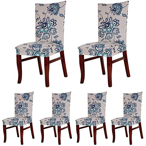 SoulFeel 6 x Soft Spandex Fit Stretch Short Dining Room Chair Covers with Printed Pattern, Banquet Chair Seat Protector Slipcover for Home Party Hotel Wedding Ceremony (Style 5) (Slipcovers For Dining Room Chairs With Rounded Backs)