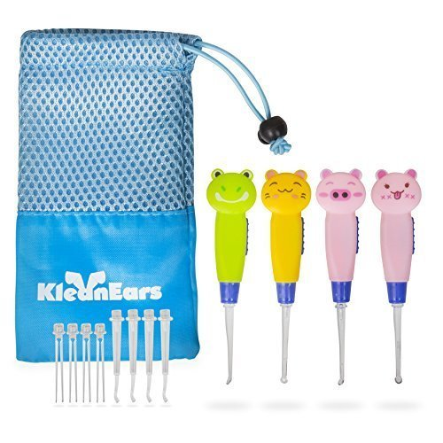 KleanEars Kids Ear wax Remover Tool Baby Safe 4 Pcs LED Lighting Ear Pick Spoon Earwax Remover Curette Tweezer Ear Spoon Cleaning