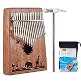 Kalimba Mbira Sanza 17 Keys Thumb Piano Portable Pocket Size Beginners Friendly Solid Finger Piano Mahogany Body Ore Metal Tines with Cruved Elephant Eagle Phoenicopteridae and Giraffe