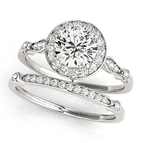 14K White Gold Unique Wedding Diamond Bridal Set Style MT51064
