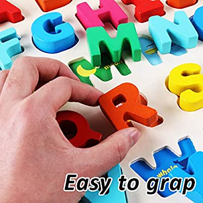 CozyBomB Wooden Alphabet ABC Baby Puzzle for Toddlers 2 3 Years - Alphabets Name Puzzles Set Letter Blocks for Kids Learning Educational Montessori Letters Jigsaw Board Games Toys for Kindergarten: Toys & Games