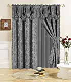 All American Collection New 4 Piece Drape Set 63″ Length with Attached Valance and Sheer with 2 Tie Backs Included