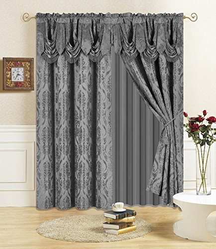 "All American Collection New 4 Piece Drape Set 96"" Length with Attached Valance and Sheer with 2 Tie Backs Included"