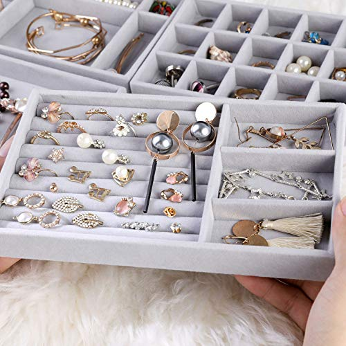 Jewelry Trays Organizer, Stackable Closet Dresser Drawer Accessories Tray Set of 4 Drawer Organizer for Earring, Ring, Gadgets & Cosmetics, Display Organizer Necklace Storage Showcase Bracelet Removable Tray