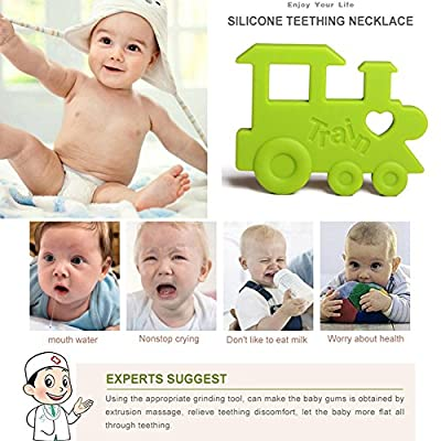 INCHANT 2 Pack Train Toddler Silicone Teething Toys - FDA Approved BPA Free Silicone Pendant - Easy to Clean Pain Relief Teether for Baby Boys and Girls Gift : Baby
