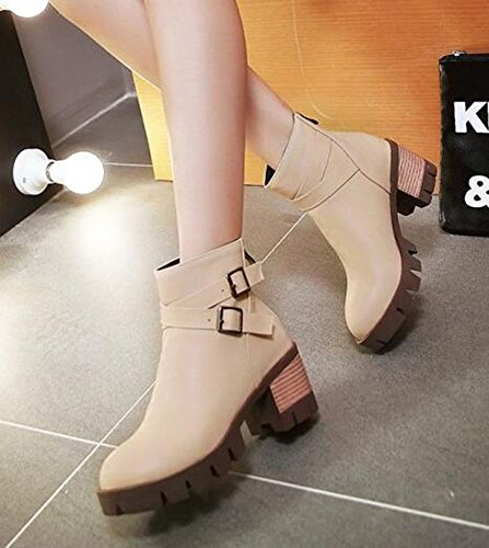 CHFSO Womens Fashion Solid Round Toe With Buckle Pull On Mid Chunky Heel Platform Ankle Boots Beige OHjzL5F