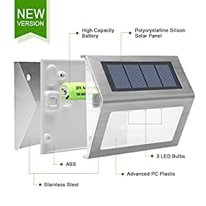 Easternstar Solar Light,Outdoor Waterproof Stainless Steel Solar LED Step Light Illuminates Stairs Patio Deck Yard Garden Outsides Path Fence Post lamp (10 Pack)