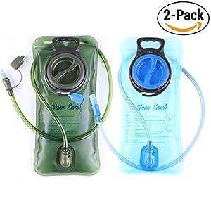 Baen Sendi Hydration Bladder 2 Liter/70 oz - Pack of 2(1 Piece blue+1 Piece Armygreen) - BPA Free Hydration Pack Replacement, for Hiking Biking Climbing Cycling Running (2 Pack)