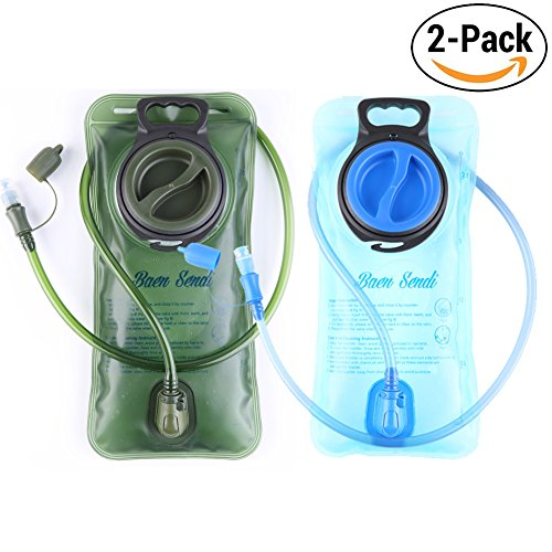 Baen Sendi Hydration Bladder 2 Liter/70 oz - Pack of 2(1 Piece blue+1 Piece Armygreen) - BPA Free Hydration Pack Replacement, for Hiking Biking Climbing Cycling Running (2 Pack)