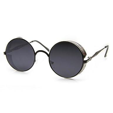 af517a0573e zeroUV - Studio Cover Metal Frame Side Shield Steampunk Fashion Round  Sunglasses (Black Smoke)