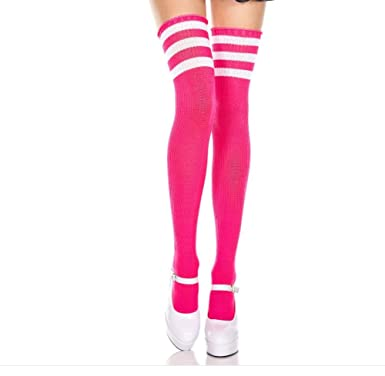 eac88bdd5 Ladies/Women Pink Thigh High Over The Knee Referee Socks with White Stripe:  Amazon.co.uk: Clothing