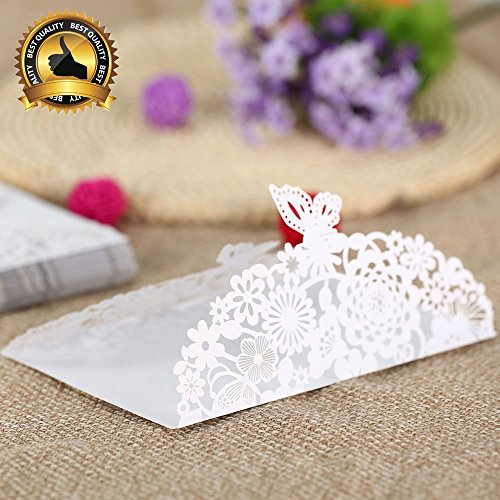 Best Quality wedding invitations, 20Pcs Romantic Wedding/Marriage Supplies/Business/Party/Birthday Invitation Cards Wedding Party Invitation Card Envelope Delicate Carved Pattern ( Beige / White ) (Mickeys Halloween Party Tickets)