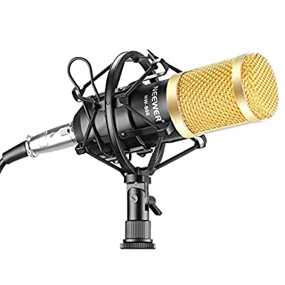 Neewer NW-800 Professional Studio Broadcasting & Recording Microphone Set Including (1)NW-800 Professional Condenser Microphone + (1)Microphone Shock Mount + (1)Ball-type Anti-wind Foam Cap + (1)Microphone Power Cable (Black) from Neewer