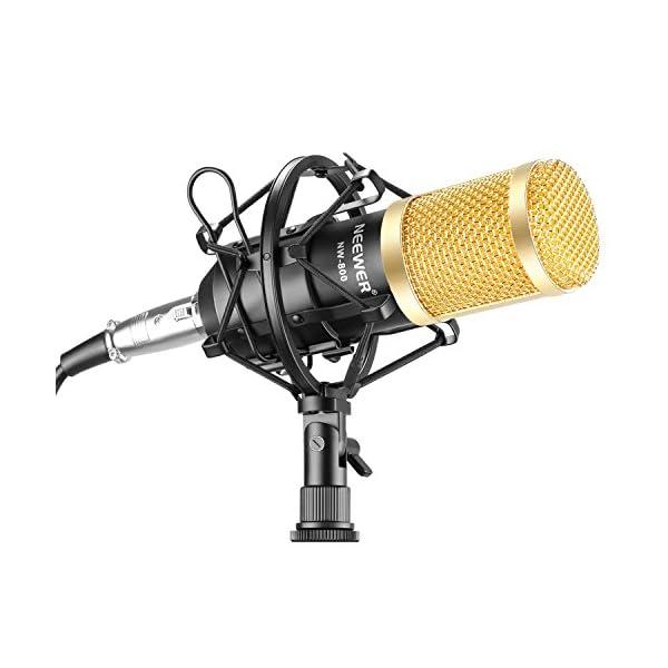 Neewer NW-800 Studio - Set microfono a condensatore professionale NW-800, con assorbimento degli urti, a sfera anti-vento, in schiuma, cavo di alimentazione per microfono 1 spesavip