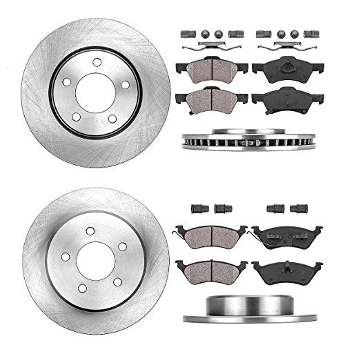 FRONT 281 mm + REAR 289 mm Premium OE 5 Lug [4] Rotors + [8] Quiet Low Dust Ceramic Brake Pads + Clips ()