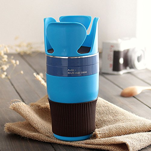 Auto Multifunction Cup Holder,Versatile Function Rotary Storage Rack for Smartphones & Headset Cord Winder,Lightweight Design Handy Grip Plastic Silicone Suitable for Car Traveling (Blue)