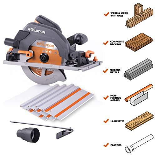 Evolution Power Tools R185CCSX 7-1/4″ Multi-Material Circular Track Saw Kit w/ 40″ Track