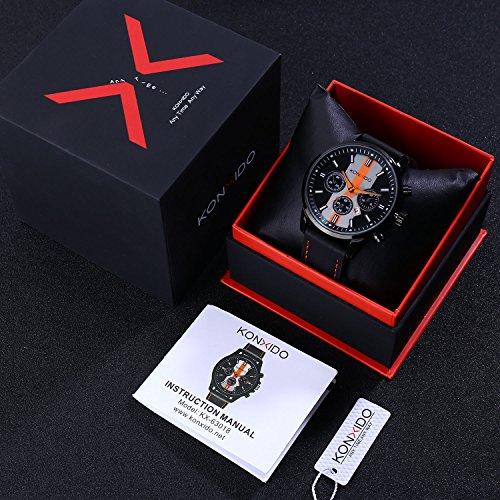 KONXIDO Mens Sports Watches Military Waterproof Big Face Analog Leather Band Wrist Watch Orange by KONXIDO (Image #7)