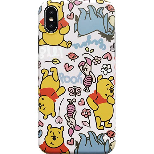 Soft Silicone Winnie The Pooh Case for iPhone X iPhoneX Walt Disney Cartoon Bear Piglet Eeyore Flowers Floral Skidproof Shockproof Protective Cute Lovely Cool Stylish Gift Kids Teen Girls Family ()