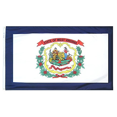 Annin Flagmakers Model 145870 West Virginia State Flag 4x6 ft. Nylon SolarGuard Nyl-Glo 100% Made in USA to Official State Design Specifications.