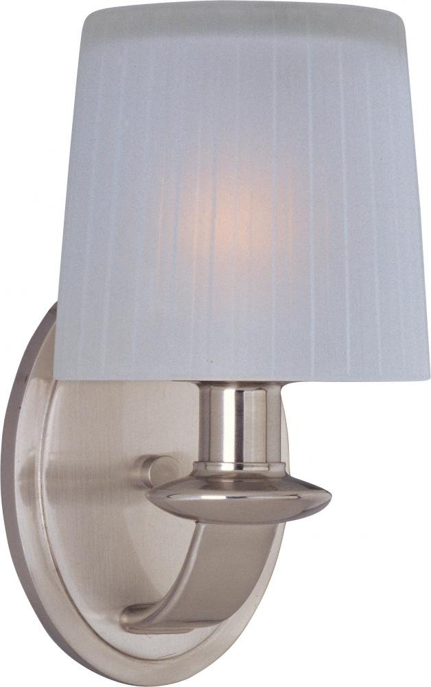 Maxim 21507FTSN Finesse 1-Light Wall Sconce, Satin Nickel Finish, Frosted Glass, CA Incandescent Incandescent Bulb , 60W Max., Damp Safety Rating, Standard Dimmable, Fabric Shade Material, 2016 Rated Lumens
