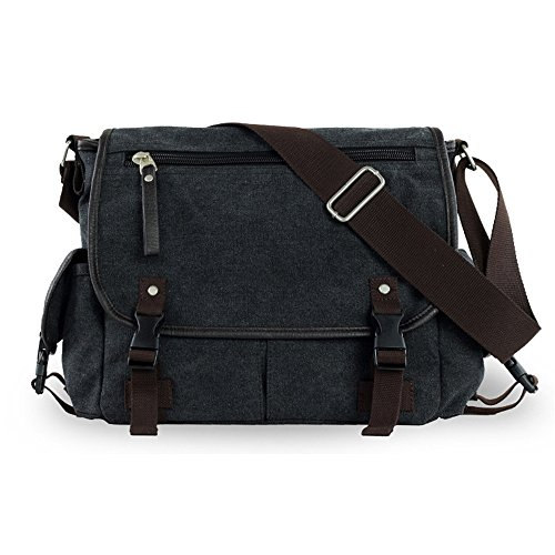 Wewod Bolso Bandolera de Tela de Lona para Hombre, Bolso Multifuncional Messenger Bag Travel Bolsas de Hombro, Casual Viaje Colegio Al aire libre (Caqui) Negro