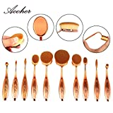 Aooher Oval Makeup Brush Set, 10pcs Multipurpose Professional Toothbrush Foundation Eyeshadow Concealer Blush Comestic Brushes (Gold)