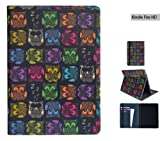 """NEW Create&Case """"Sherbet Owls"""" stylish, unique & colourful case for the Kindle Fire HD 7"""" tablet - premium folio case with multi stand function, credt card slots and a secure fitted inside case. Part of the Create&Case """"Artist Designed"""" collection"""