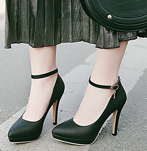 IDIFU Womens Fashion Pointy Toe Low Top Stiletto High Heels Ankle Strap Low Cut Pumps Shoes Black N1FrXL