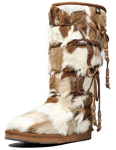 AU&MU Aumu Womens Fur Shearling Stylish Knee High Snow Winter Boots Chestnut