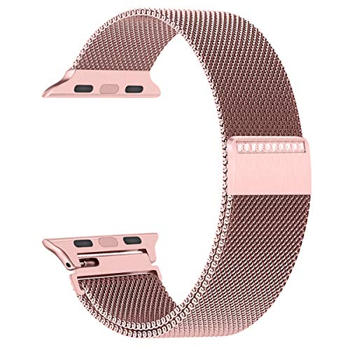 Ladies Stainless Steel Mesh - GEOTEL Bling Bands Apple Watch Band 38mm Women,Stainless Steel Mesh Milanese Loop Gorgeous Rhinestone Adjustable Magnetic Closure Replacement iWatch Band Apple Watch Series 3 2 1