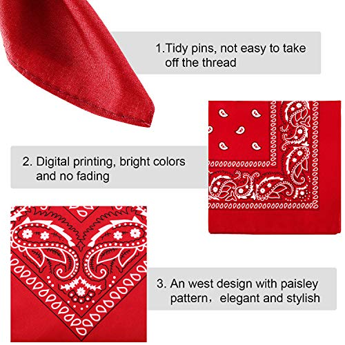 6 Pieces Paisley Bandanas Assorted Cowboy Bandanas Unisex Novelty Print Head Wrap Scarf Wristband for Adults and Kids