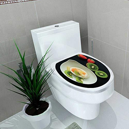 Toilet Seat Sticker Tasty Kiwi Fruit pudd Waterproof Decorative Toilet Cover Stickers W14 x L14