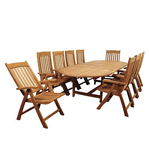 Amazonia Centerville 9 Piece Teak Double Extendable Oval Dining Set ()