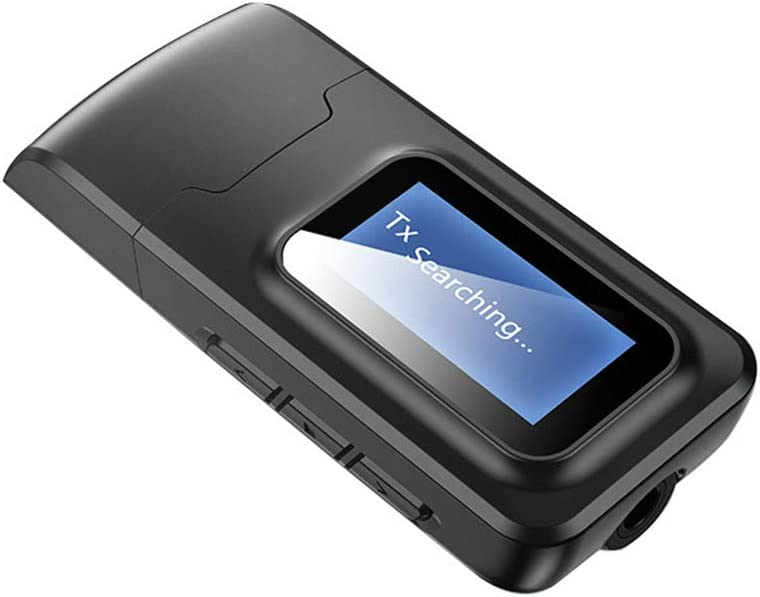 XHXseller Adaptador Bluetooth 5.0, receptor de transmisor de música USB, velocidad rápida con pantalla LCD, compatible con audio digital de 3,5 mm para PC/casa/auriculares/TV
