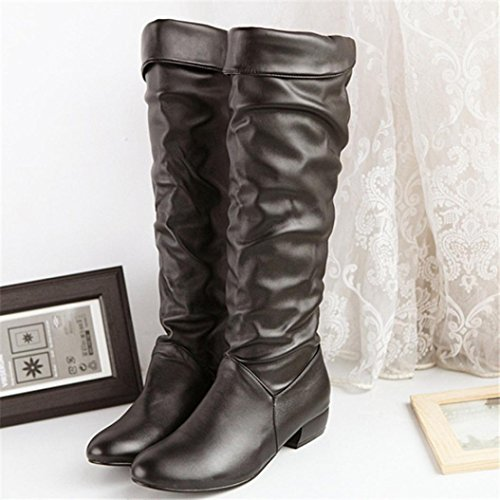 Color Toe Women's Black Shoes High HCFKJ Teens Knee Boots Artificial Solid Pointed Non Flat Leather slip Girls Fashion for Booties IRq1Sz