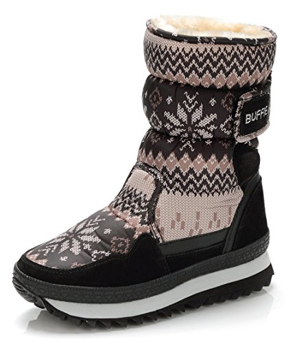 DADAWEN Girls Winter Fur Lining Cozy Warm Waterproof Snow Boots