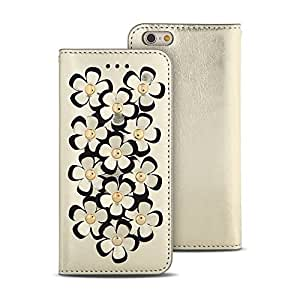 iPhone 6 plus Wallet Case, Wetherby Flower Leather Case for iPhone 6 plus (5.5 inch) 100% Handmade Genuine Leather Case Gold