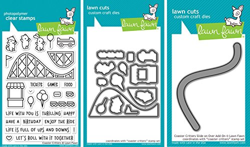 Lawn Fawn - Coaster Critters - Stamp and Dies Set - Coaster Critters Stamp, Die and Slide On Over Add-On Die - 3 Item Bundle by Lawn Fawn