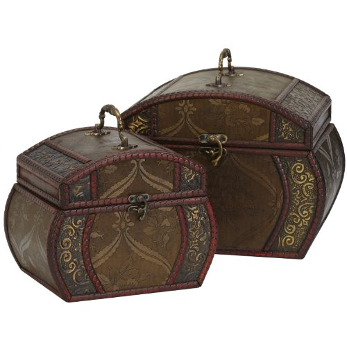 Storage Decorative Chest (Nearly Natural 528 Decorative Chests, Brown, Set of 2)