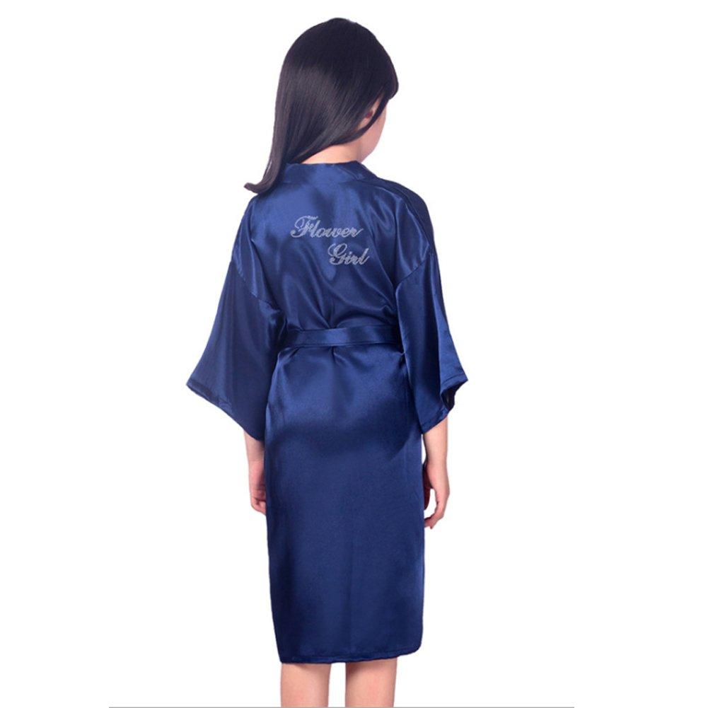SexyTown Flower Girl Robes Satin Nightgown Wedding Party Getting Ready Robe with Gold Glitter (14(Height 53.1''-59.9''), Dark Blue(Rhinestones))