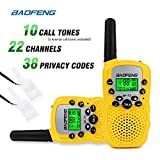 Image of Baofeng T-3 Handheld Walkie Talkies For Kids & Adults, UHF 462.5625 - 467.7250MHz FRS/GMRS Two-Way Radio Transceiver For Children & Youth, 2 Waterproof Cases Included, 1 Pair (2 Pcs) (Yellow)