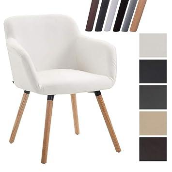 CLP Silla Comedor Debbie en Cuero Sintético | Silla para Visitas o de Salón con Base de Madera I Color: Blanco, Madera Natural