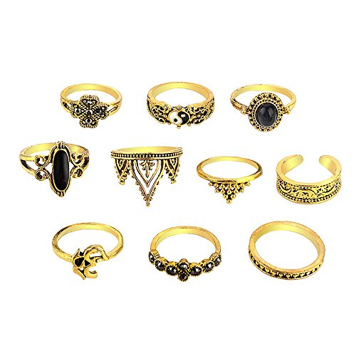 Napoo-Ring 10pcs/Set Women Bohemian Vintage Stack Rings Above Knuckle Blue Rings Set(Gold,Free) ()