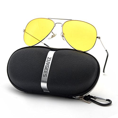 ZOGEEN Aviator Night Vision Driving Sunglasses,Yellow Lenses Block Nighttime Glare,Perfect for Any Weather - Sunglasses Night Time