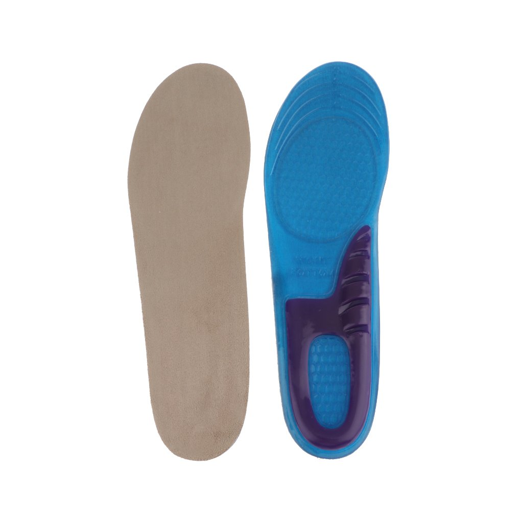 1 Pair E-Cron Sports Silicone Insoles Full Length. Double Layer Silicone Insoles with Arch and Heel Support. Specially Designed Gel Shock Pads for Shock Absorption and Pain Relief. IS1STVM