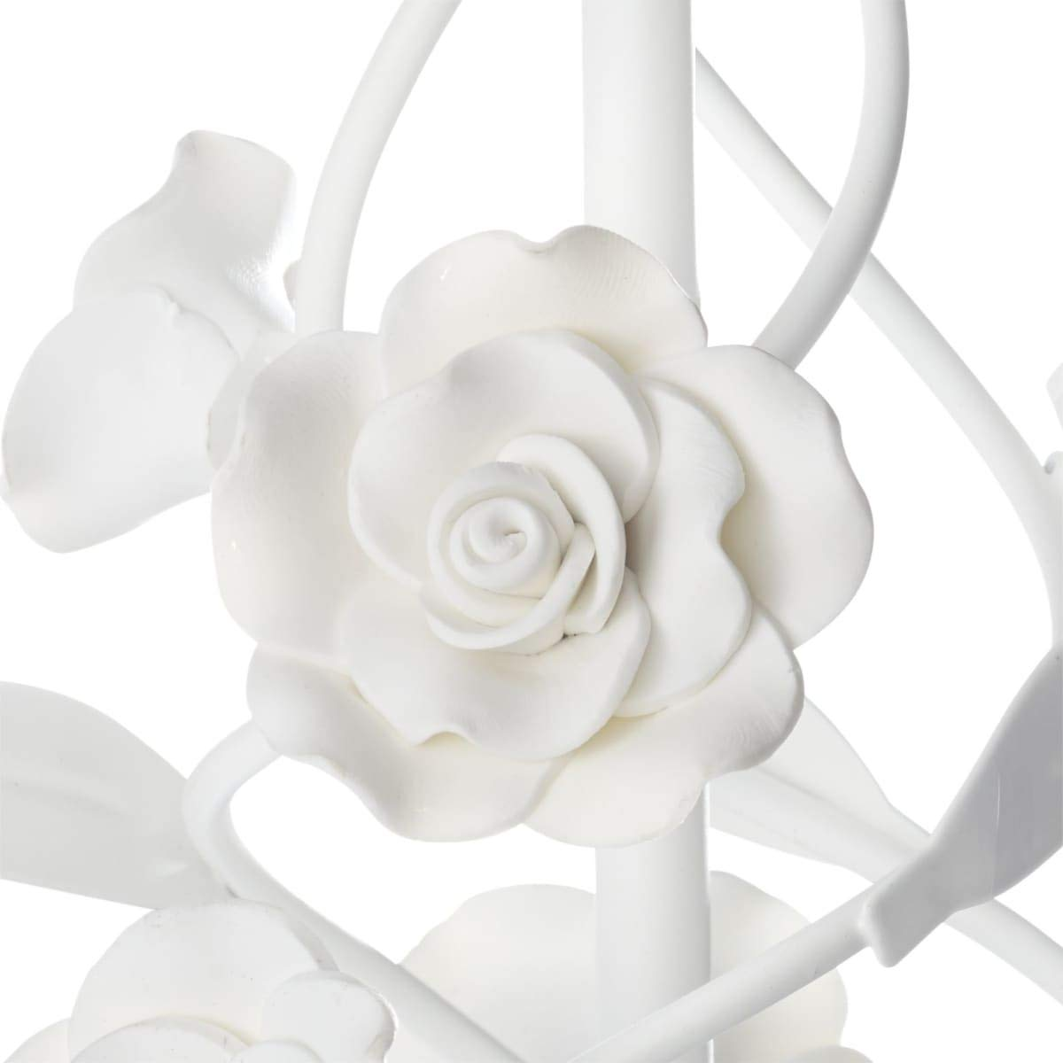 miaVILLA Kronleuchter Rose Weiß 5-flammig E14//max 40 cm Ø PureDay 40W Romantik Look