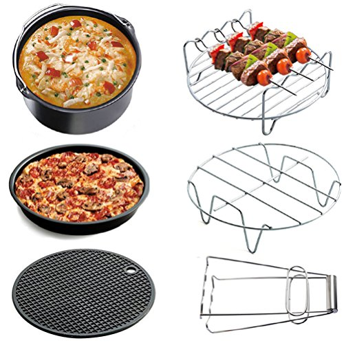 Air Fryer Accessories Deep Fryer Universal, Cake Barrel, Pizza Pan, Silicone Mat, Skewer Rack, Metal holder Fit all 3.7Qt - 5.3Qt - 5.8Qt By RJUN