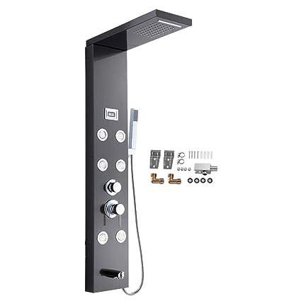 EBTOOLS Panel de Ducha Acero Inoxidable Negro, Sistema de Panel de Ducha Hidromasaje de Baño con Pantalla LCD de Temperatura/Mezclando 6 Chorros de ...